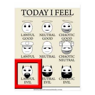 Today I Feel Lawful Evil Postcard