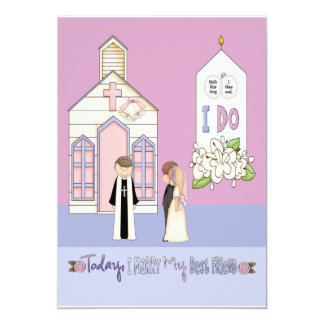 Today I Marry My Best Friend 5x7 Paper Invitation Card