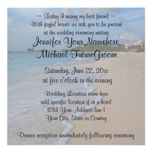 ... Marry My Best Friend Beach Wedding Custom Invitations from Zazzle.com