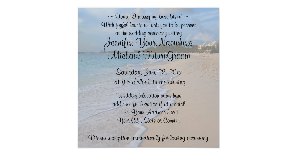 Best Wedding Invitation Wording: Today I Marry My Best Friend Beach Wedding Invitation