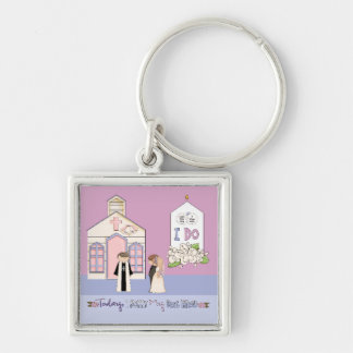Today I Marry My Best Friend Silver-Colored Square Keychain