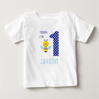 Today I'm 1 Boy Bee Blue Wings Birthday Baby T-Shirt