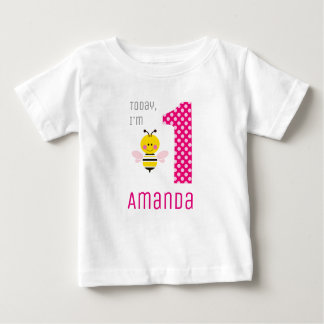 Today I'm 1 Girl Bee Pink Wings Birthday Baby T-Shirt