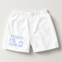Today is a good day - strips - blue and white. boxers