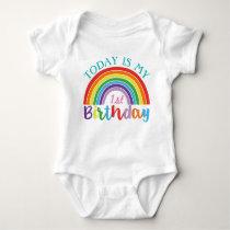 Today Is My 1st Birthday Rainbow Custom Age Girls Baby Bodysuit