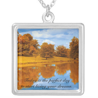 Today is the Perfect Day To Reflect Square Pendant Necklace