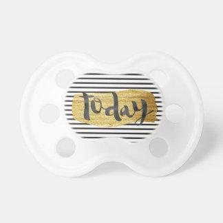 """today"" modern black white stripes golden star pacifier"