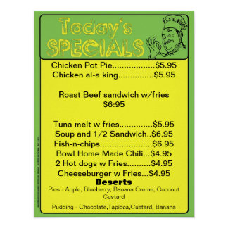 Today s Special Menu Poster - restaurant supplies