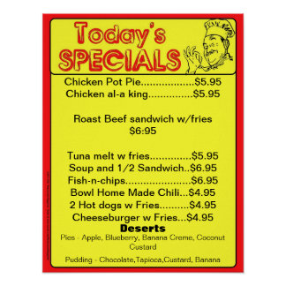 Today s Special Poster - restaurant supplies