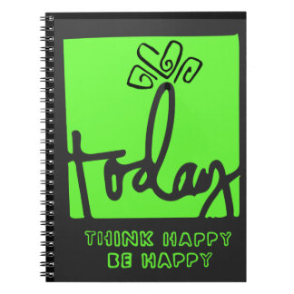Today think happy be happy decor notebook