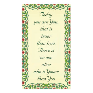 Today  you are You,  that is  truer than true Double-Sided Standard Business Cards (Pack Of 100)