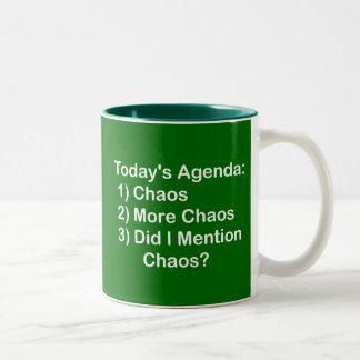Today's Agenda: Chaos Two-Tone Coffee Mug