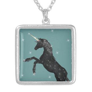 Today's Best Award ~Black Fantasy Unicorn Square Pendant Necklace