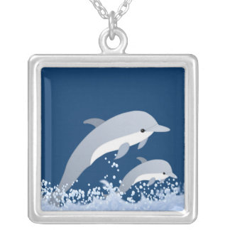 Today's Best Award ~Jumping Dolphins Square Pendant Necklace