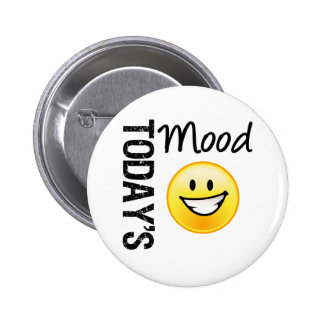Today's Mood Emoticon Bright Smile Pinback Button