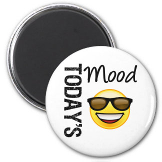 Today's Mood Emoticon Cool with Shades 2 Inch Round Magnet