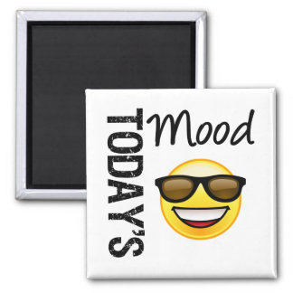 Today's Mood Emoticon Cool with Shades 2 Inch Square Magnet