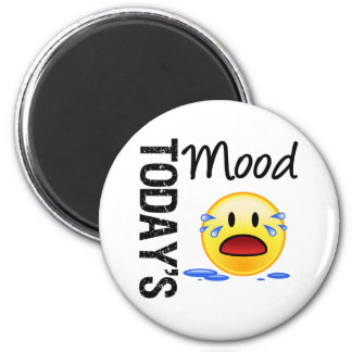 Today's Mood Emoticon Crying 2 Inch Round Magnet
