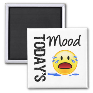 Today's Mood Emoticon Crying 2 Inch Square Magnet