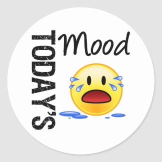 Today's Mood Emoticon Crying Classic Round Sticker
