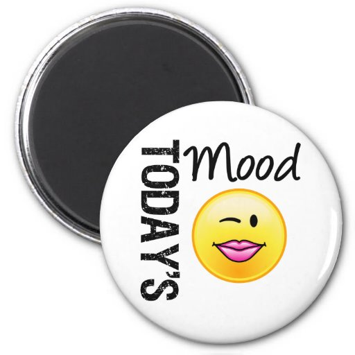 Today's Mood Emoticon Flirty 2 Inch Round Magnet