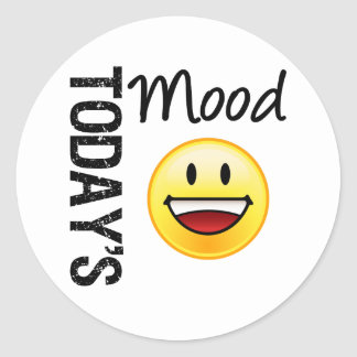 Today's Mood Emoticon Toothy Smile Classic Round Sticker
