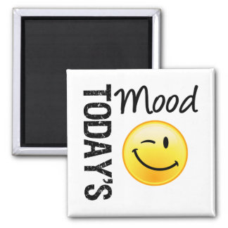 Today's Mood Emoticon Winking 2 Inch Square Magnet
