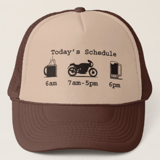 Today's schedule - Coffee, 2wheels, & beer hat