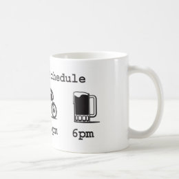 Today's schedule mug - coffee, 2wheels, & beer