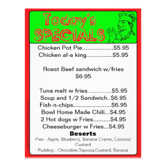Today's Specials Menu Inserts Restaurant Supplies