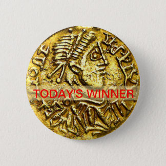 Today's Winner Gold Coin Medal Button