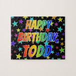 "[ Thumbnail: ""Todd"" First Name, Fun ""Happy Birthday"" Jigsaw Puzzle ]"