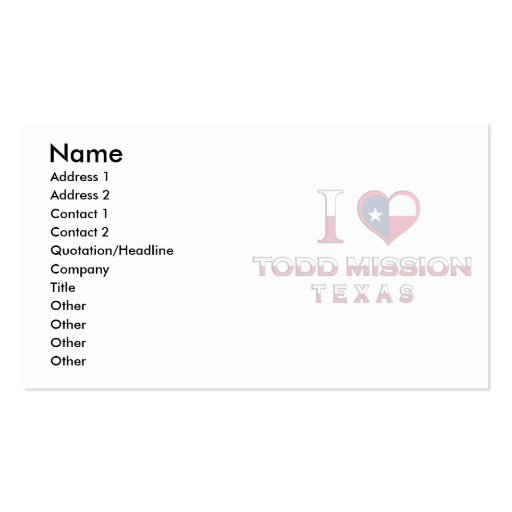 Todd Mission, Texas Business Card
