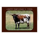 Todd Texas Longhorn Cow Happy Birthday Greeting Card