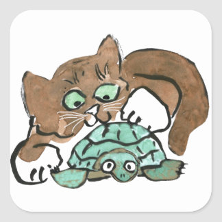 Todd the Brown Kitten Finds a Turtle Square Sticker