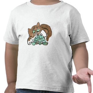 Todd the Brown Kitten Finds a Turtle Tshirts