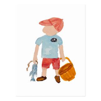 Toddie Time Summer Nantucket Fishing Holiday Boy Postcard