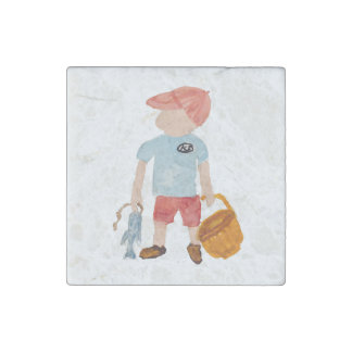 Toddie Time Summer Nantucket Fishing Holiday Boy Stone Magnet