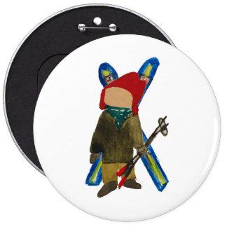 Toddie Time Winter Snow Days Toddler Skier Boarder Pinback Button