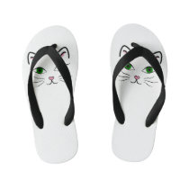 Toddler and Kids Flip Flops - Kitty Face