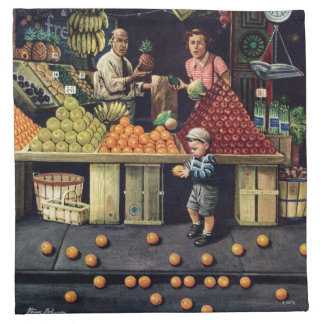 Toddler and Oranges Cloth Napkin