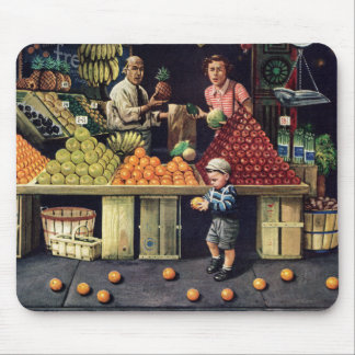 Toddler and Oranges Mouse Pad