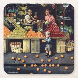 Toddler and Oranges Square Paper Coaster