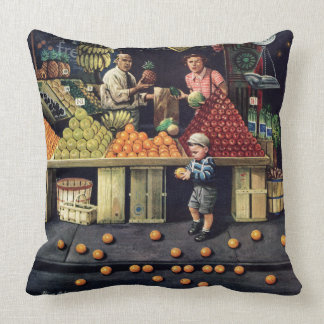 Toddler and Oranges Throw Pillow
