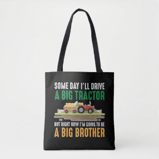 Toddler Big Brother Graphic Tractor Sibling Son Tote Bag
