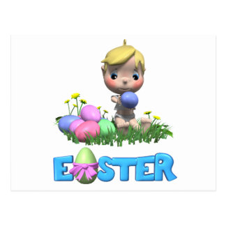 Toddler Celebrates His First Easter Postcard