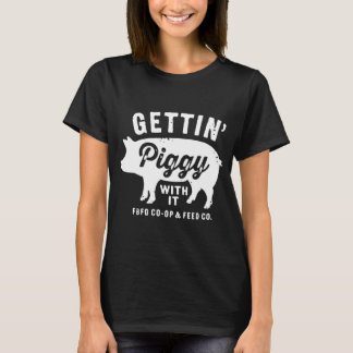 Toddler Farm Boy Gettin piggy with it Green Farm T-Shirt