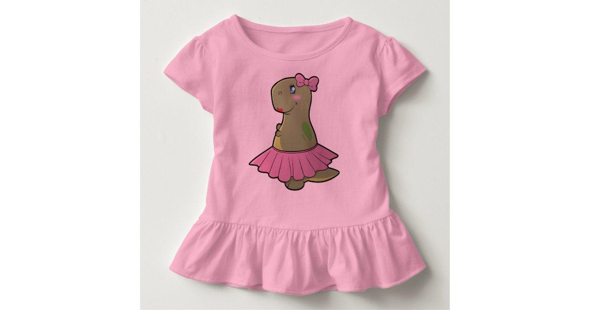 Toddler Girls Dinosaur T-Rex Ruffled Shirt | Zazzle
