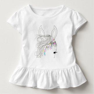 Toddler girl's ruffle tee shirt with petal horse