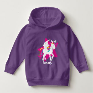 Toddler girls unicorn on a star add text hoodie